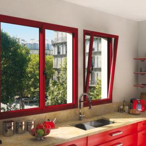 Store de Fenêtre frappe Alu rouge